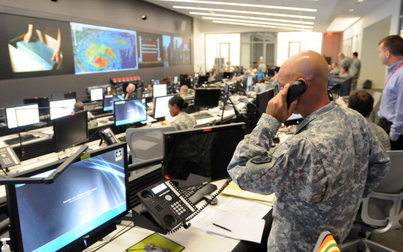 110826-A-DZ751-046 ARLINGTON, Va. (Aug. 26, 2011) The National Guard Command Center in Arlington, Va., monitors Hurricane Irene to support National Guard and civilian authorities. (U.S. Army photo by Staff Sgt. Jim Greenhill/Released)